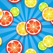 Slices of funny fresh citrus fruits on blue beams background — Stock Vector