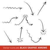 Black graphic arrows set. Vector illustration — Wektor stockowy