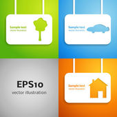 House, car and tree applique background set — Stock Vector