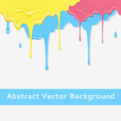 Paint colorful dripping background in three color option. — Stock Vector