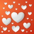 Illustration card of Valentine's day with paper hearts — Imagen vectorial
