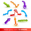 Colorful three-dimensional arrows set. Vector illustration — Stock Vector