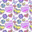Funny seamless background with heart, butterfly and flower — Imagens vectoriais em stock