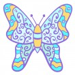 Funny colorful butterfly with curls. — Stock Vector