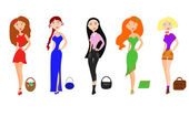 Set of fashion girls — Stock Vector