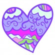 Funny colorful heart with curls. — Stockvector