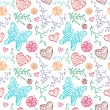 Floral seamless pattern with flowers, hearts and butterfly. — Stock Vector
