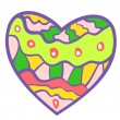 Funny colorful heart background. — ストックベクタ