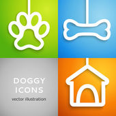Set of applique doggy icons. Vector illustration — Stock Vector
