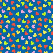 Dikişsiz vintage rastgele renkli kalp desen arka plan — Stok Vektör