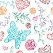 Floral seamless pattern with flowers, hearts and butterfly. — Stock Vector #28671151