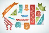 Set of vintage colorful paper label and ribbon — 图库矢量图片
