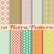 Retro different vector seamless patterns (tiling). — Stockvektor  #28709613