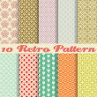 Stock Vector: Retro different vector seamless patterns (tiling).