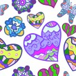 ストックベクタ: Funny seamless background with heart, butterfly and flower