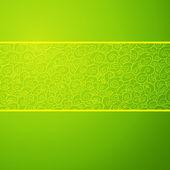 Green wave horizontal ornamental background. Vector illustration — Stock Vector