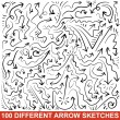 Set of hand drawn arrow sketches. Black graphic pointers — Stock Vector