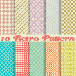Ten retro different vector seamless patterns (tiling) — Stock Vector