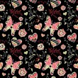 Floral seamless pattern with flowers, hearts and butterfly. — Vektorgrafik