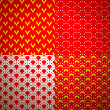 Set of four different geometrical patterns (seamlessly tiling). — Stok Vektör