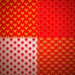 Set of four different geometrical patterns (seamlessly tiling). — Stock vektor
