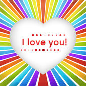 Rainbow heart background with declaration of love. — Stock Vector