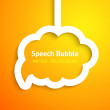 White paper cloud speech bubble on orange background — Stock Vector