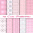 Stock Vector: Cute different vector seamless patterns (tiling). Pink color