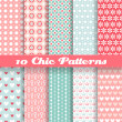 Chic different vector seamless patterns (tiling). — ストックベクタ