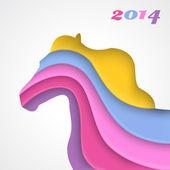 Abstract applique paper horse — Stock Vector