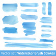 Set of blue watercolor brush stroke. Vector — Stockvektor