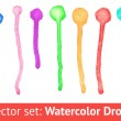 Set of colorful paint dripping on white background. Vector — Stock Vector