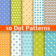 Stock Vector: Different dot vector seamless patterns (tiling).