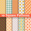 Different square vector seamless patterns (tiling). — Stock Vector