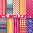Different striped vector seamless patterns (tiling). — Stockvektor