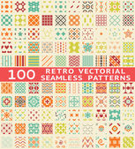 Retro different vector seamless patterns (with swatch). — Stok Vektör