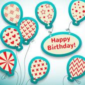 Happy birthday retro postcard with balloons. Vector — Stock Vector