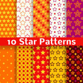 Different star vector seamless patterns (tiling). — Stock Vector