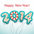 Happy New Year 2014 retro greeting card with balloons. Vector — Stock Vector