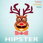 Portrait of funny vintage hipster deer with glasses, mustache an — Stock Vector