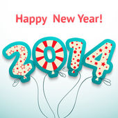 Happy New Year 2014 retro greeting card with balloons. Vector — Vector de stock