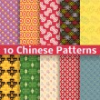 Different Chinese vector seamless patterns (tiling). — Stock Vector #33984175