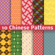 Different Chinese vector seamless patterns (tiling). — Stock vektor