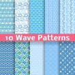 Wave different seamless patterns (tiling). Vector — Vettoriale Stock