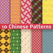 Different Chinese vector seamless patterns (tiling). — Stock Vector