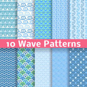 Wave different seamless patterns (tiling). Vector — Stockvektor