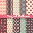 Elegant romantic vector seamless patterns (tiling). Retro — ベクター素材ストック