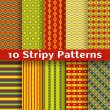 Different colorful stripy vector seamless patterns (tiling). — Stock Vector