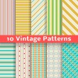 Different vintage stripe vector seamless patterns (tiling). — Imagen vectorial