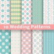 Pastel loving wedding vector seamless patterns (tiling). — Stock Vector